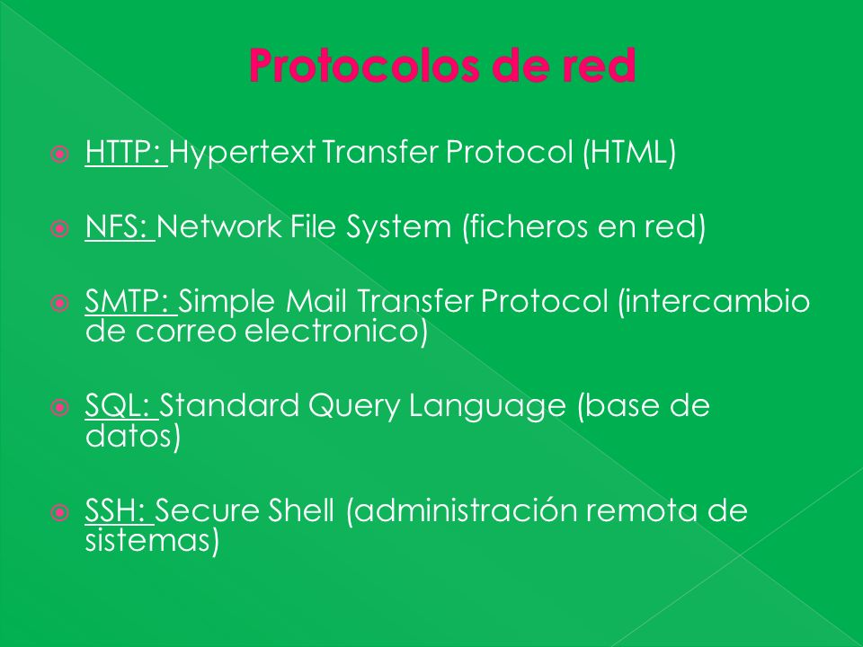 HTTP: Hypertext Transfer Protocol (HTML) NFS: Network File System (ficheros en red) SMTP: Simple Mail Transfer Protocol (intercambio de correo electronico) SQL: Standard Query Language (base de datos) SSH: Secure Shell (administración remota de sistemas)