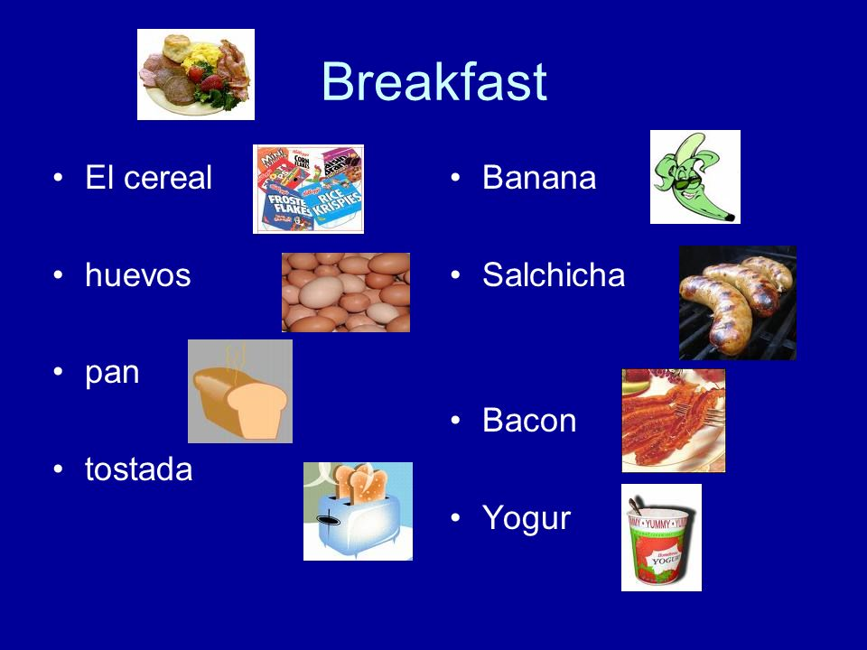 Breakfast El cereal huevos pan tostada Banana Salchicha Bacon Yogur
