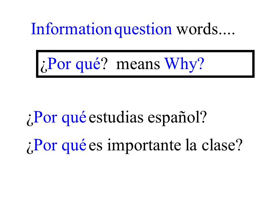 ¿Por qué es importante la clase. Information question words....