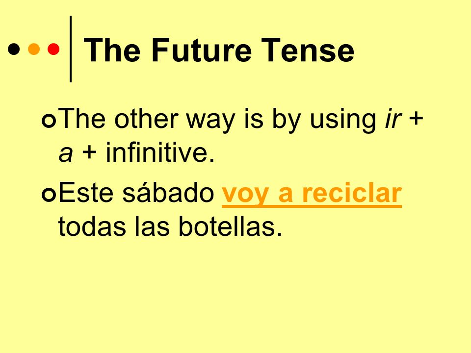 The Future Tense You have learned 2 ways to talk about future events.