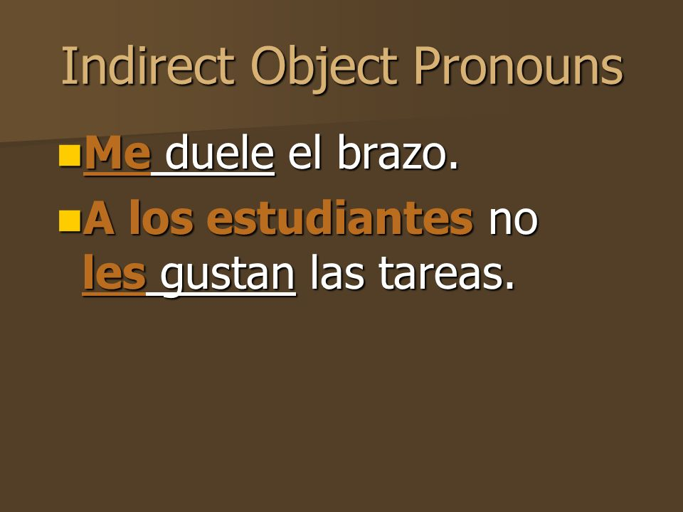 Indirect Object Pronouns These are the me, te, le, nos and les that you see beforegustar, interesar, faltar, fascinar, encantar, and doler.