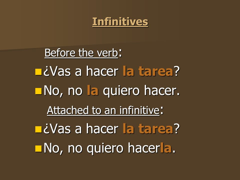 Present Participles Before the verb : Before the verb : ¿Vas a hacer la tarea.