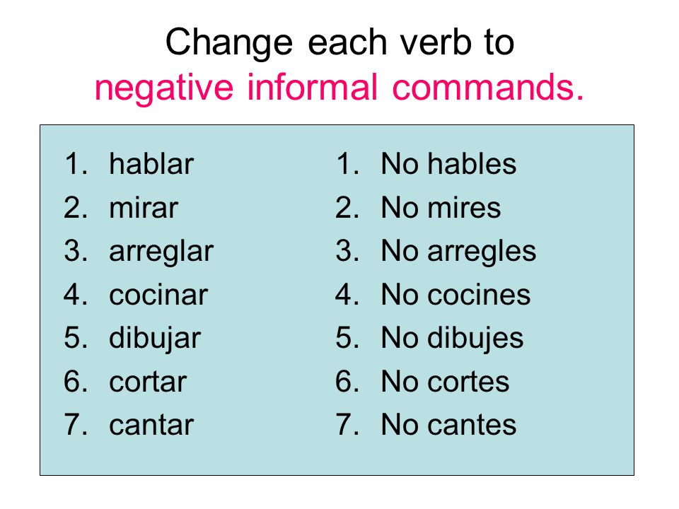 Change each verb to negative informal commands.