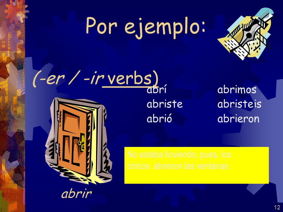 11 (-er / -ir verbs) volví volviste volvió volvimos volvisteis volvieron Por ejemplo: volver Volver, is a stem changing verb but does NOT change in the past.