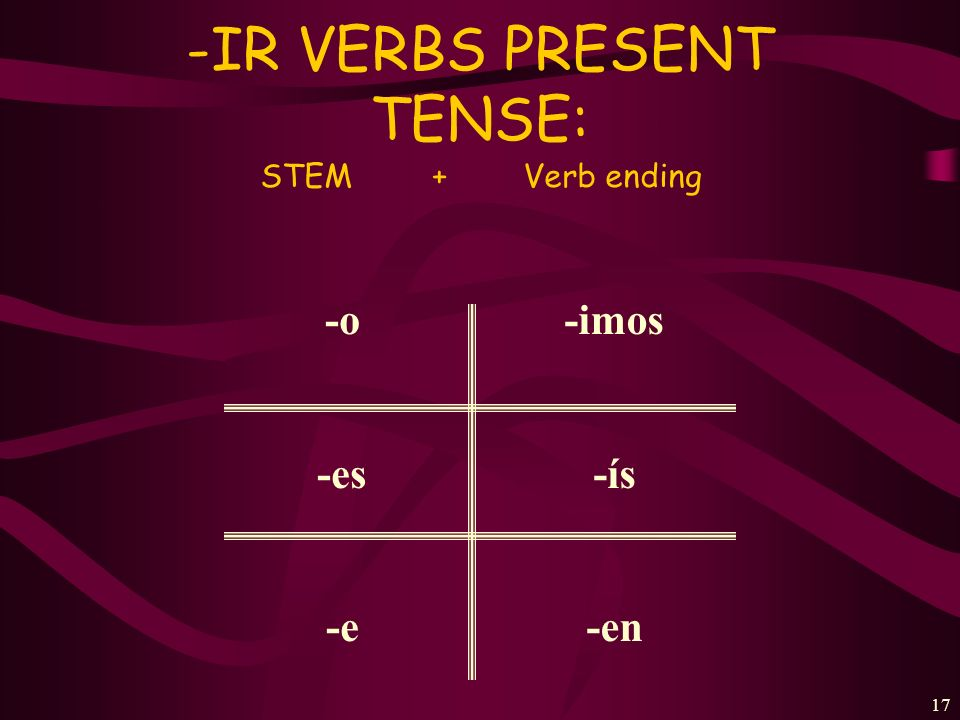 16 To form the –ER VERBS present tense: STEM + Verb ending -o -es -e -emos - é is -en