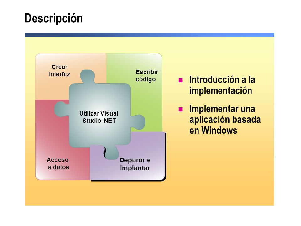 Descripción Introducción a la implementación Implementar una aplicación basada en Windows Utilizar Visual Studio.NET Acceso a datos Debug and Deploy Escribir código Crear Interfaz Depurar e Implantar
