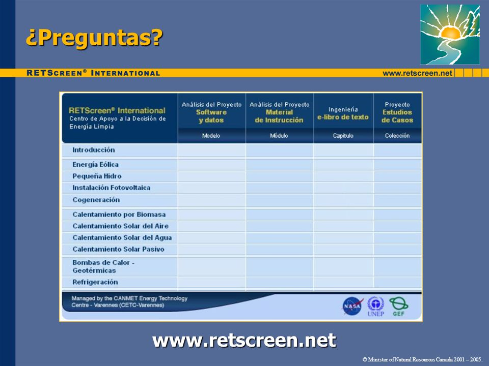 ¿Preguntas     © Minister of Natural Resources Canada 2001 – 2005.