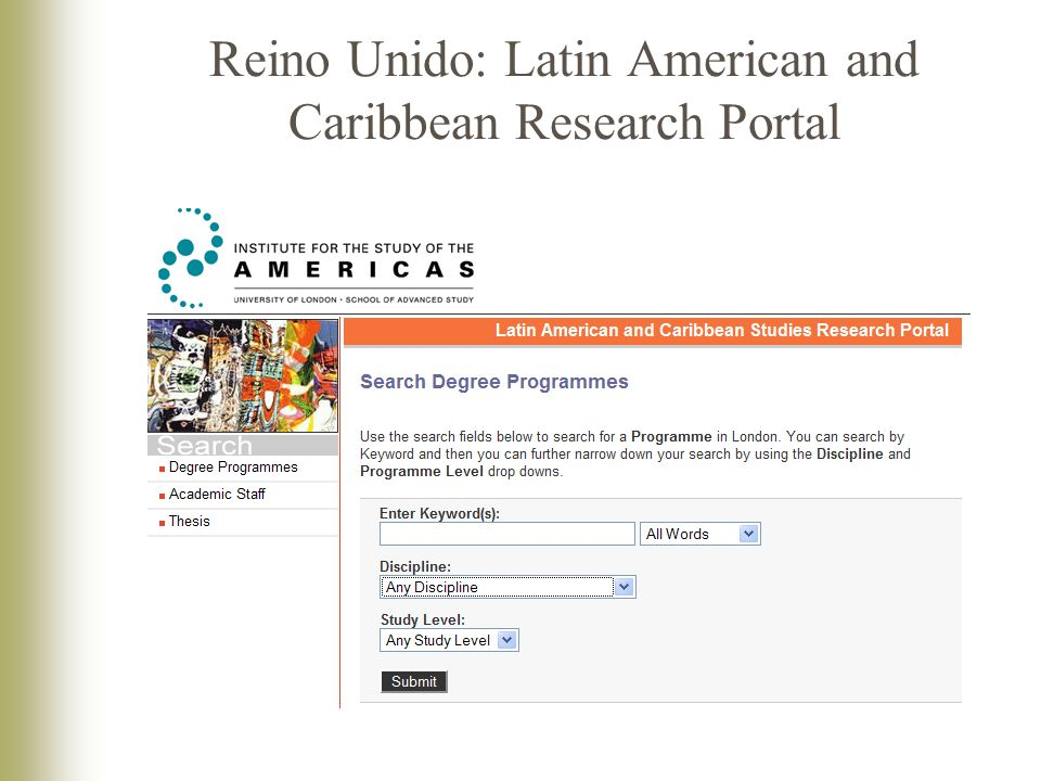 Reino Unido: Latin American and Caribbean Research Portal