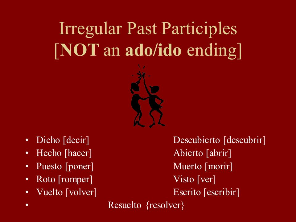 Regular Past Participles Note: ER and IR verbs with a stem that ends in a, e or o have a written accent over the > in the past participle form.