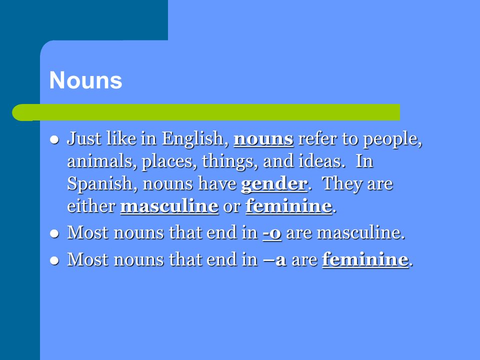 Nouns Just like in English, nouns refer to people, animals, places, things, and ideas.