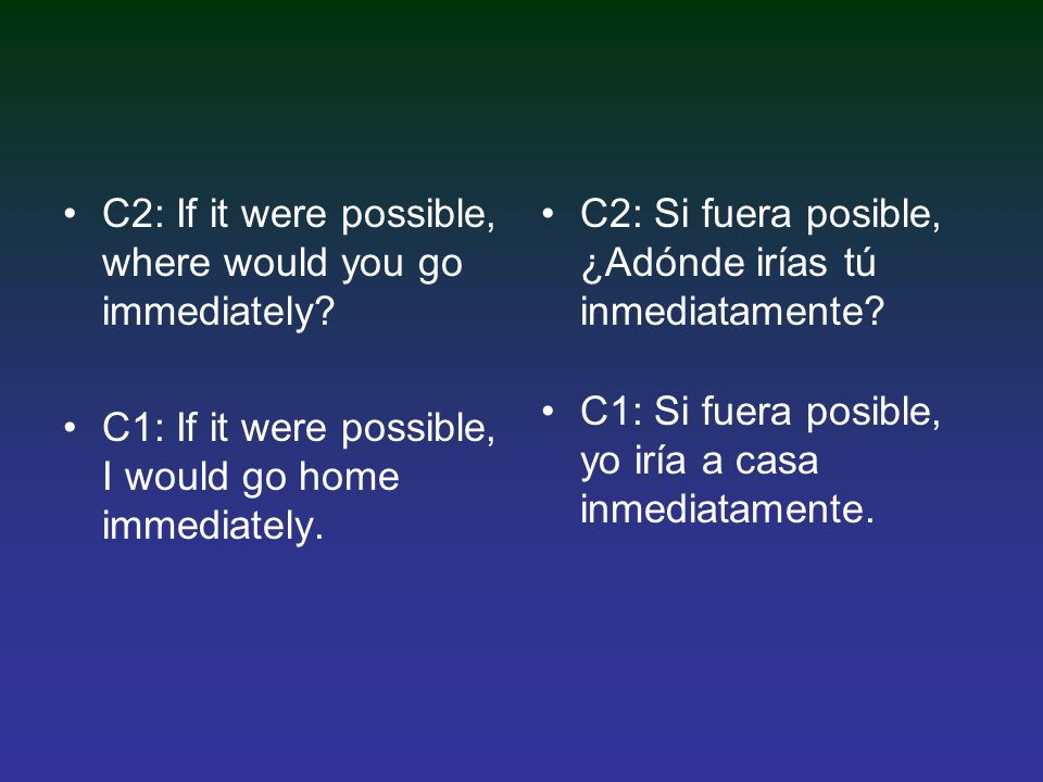 C2: If it were possible, where would you go immediately.