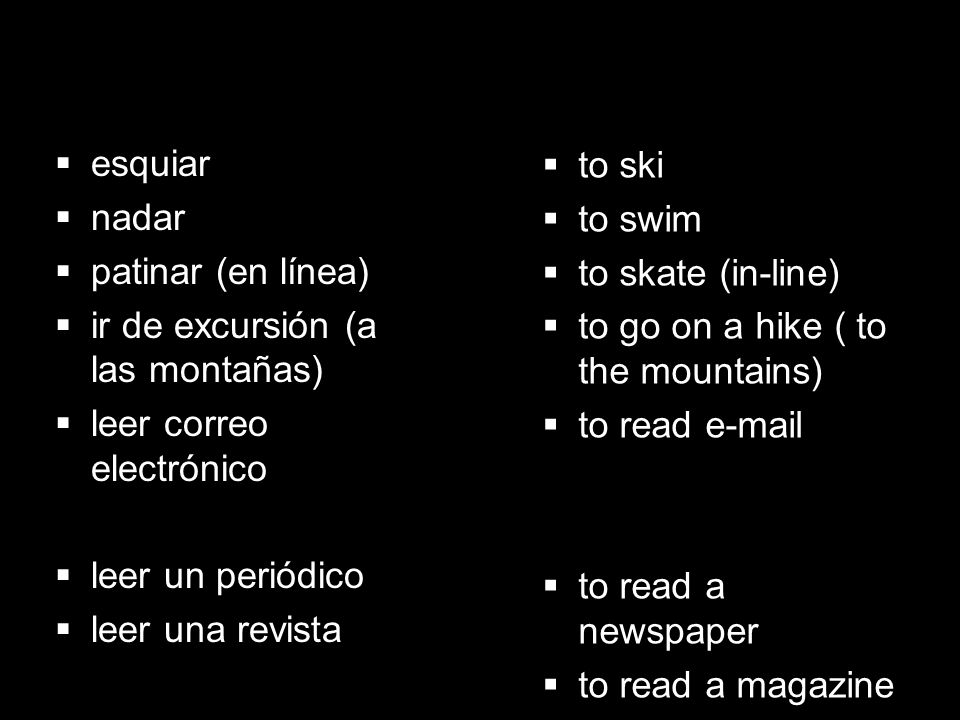 4.1 Present tense of ir esquiar nadar patinar (en línea) ir de excursión (a las montañas) leer correo electrónico leer un periódico leer una revista to ski to swim to skate (in-line) to go on a hike ( to the mountains) to read  to read a newspaper to read a magazine