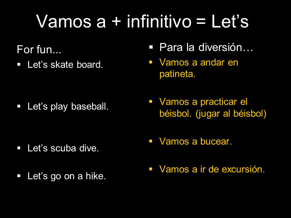 4.1 Present tense of ir Vamos a + infinitivo = Lets For fun...