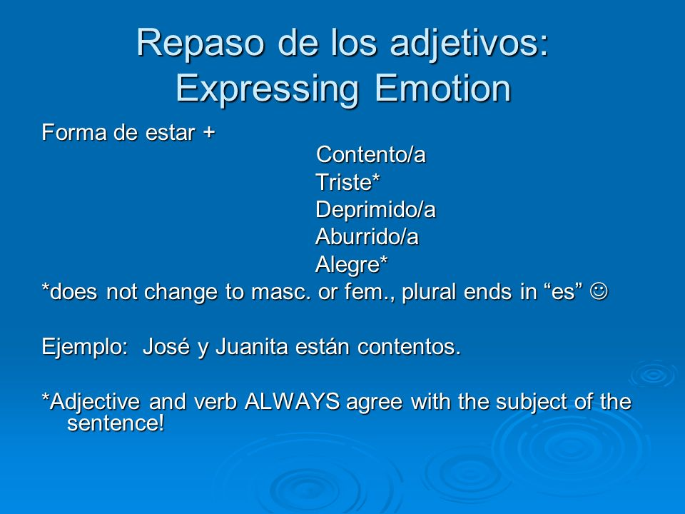 Repaso de los adjetivos: Expressing Emotion Forma de estar + Contento/a Triste*Deprimido/aAburrido/aAlegre* *does not change to masc.