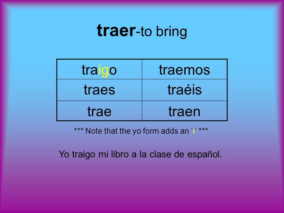 traer -to bring traigotraemos traestraéis traetraen *** Note that the yo form adds an i *** Yo traigo mi libro a la clase de español.