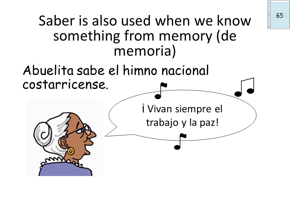 Saber is also used when we know something from memory (de memoria) Abuelita sabe el himno nacional costarricense.
