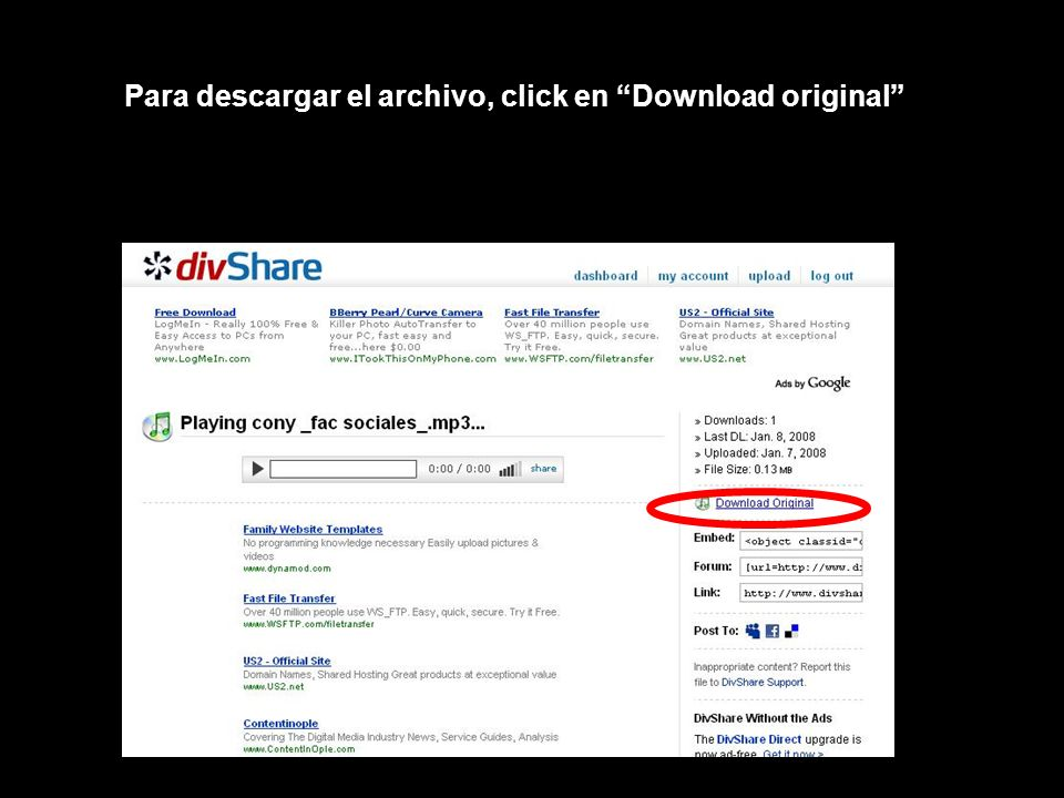 Para descargar el archivo, click en Download original