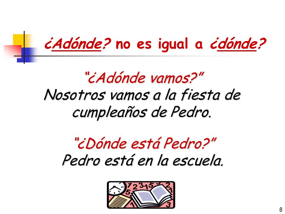 7 ¿Adónde vamos. ¿Adónde + ir . Adónde is a question word that indicates to where we are going.