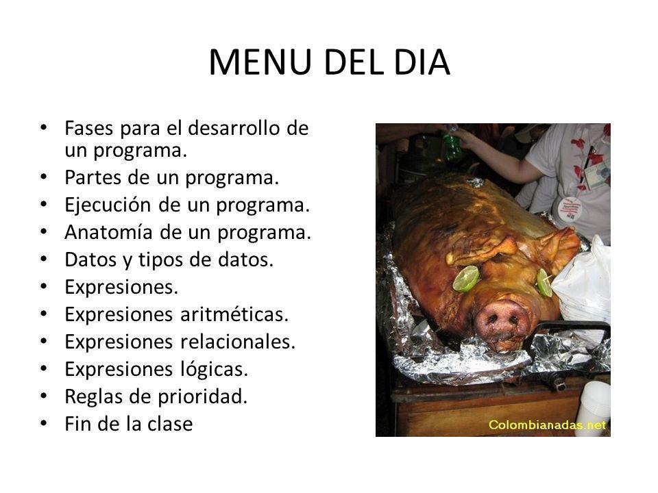 INTRODUCCION A LOS ALGORITMOS. MENU DEL DIA Fases para el desarrollo ...