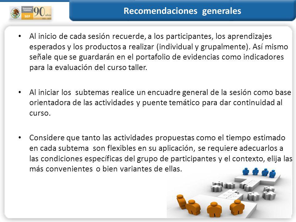 RECOMENDACIONES PARA EL FORMADOR. Recomendaciones generales para el ...