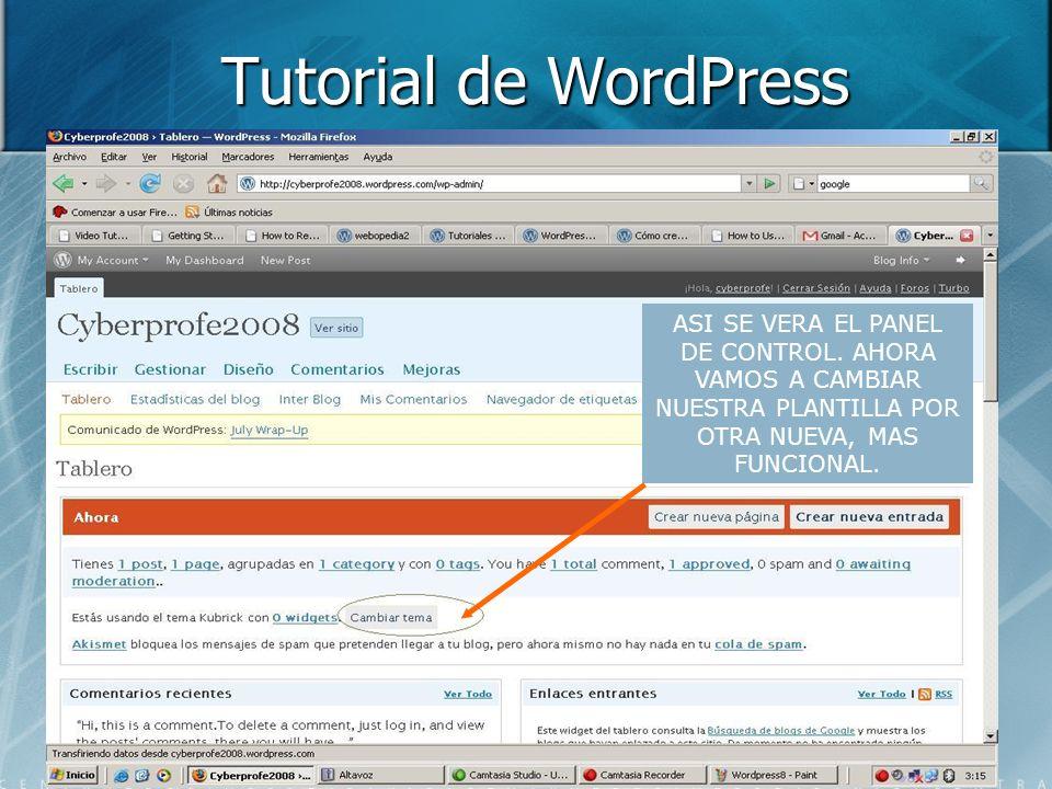 Tutorial de WordPress Sergio Moreno Ibarra Agosto 5 de ppt descargar