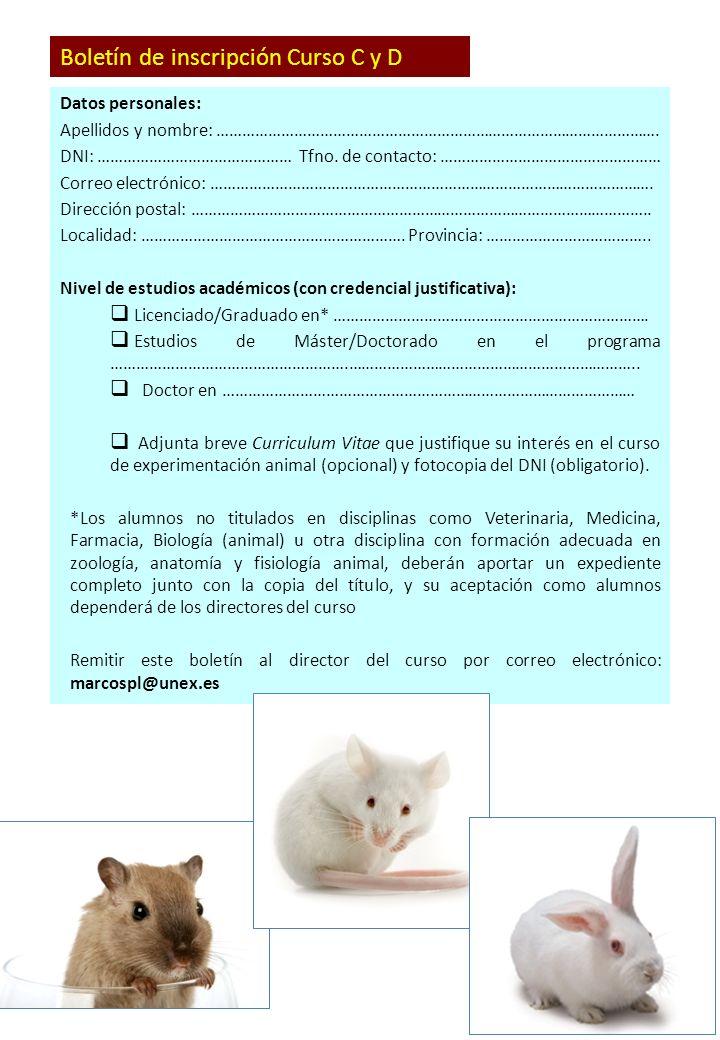 CURSO DE FORMACIÓN EN PROTECCIÓN Y EXPERIMENTACIÓN ANIMAL. Dirigido ...