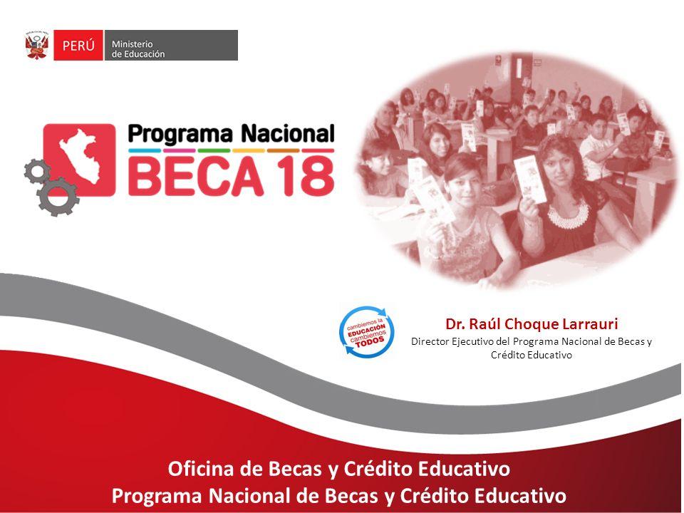 Oficina de Becas y Crédito Educativo Programa Nacional de Becas y Crédito  Educativo Dr. Raúl Choque Larrauri Director Ejecutivo del Programa Nacional  de. - ppt descargar
