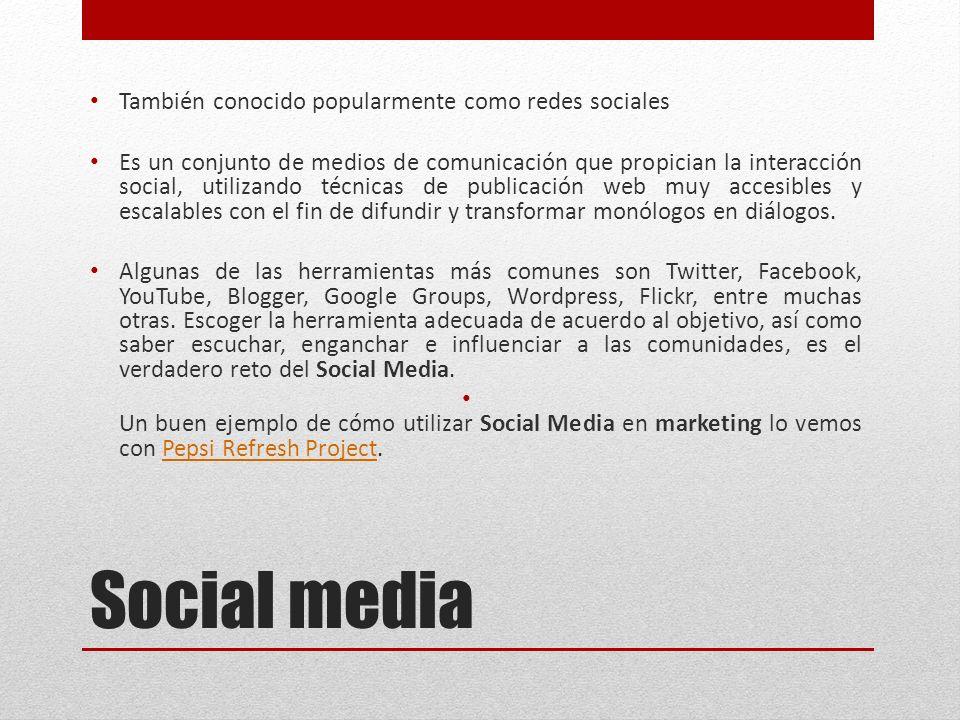 Social media También conocido popularmente como redes sociales Es un ...