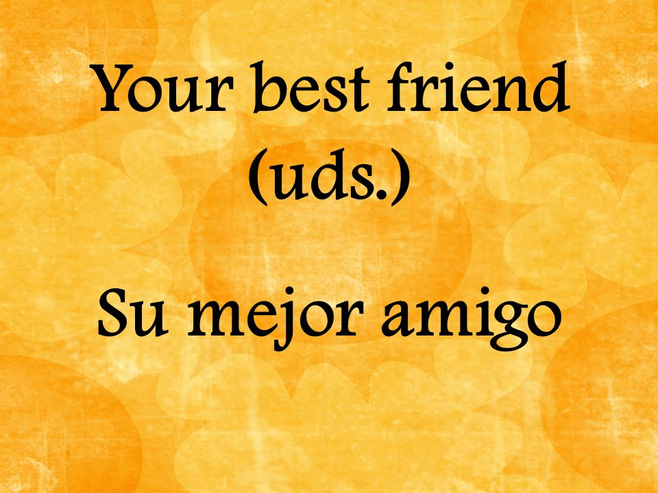 Your best friend (uds.) Su mejor amigo