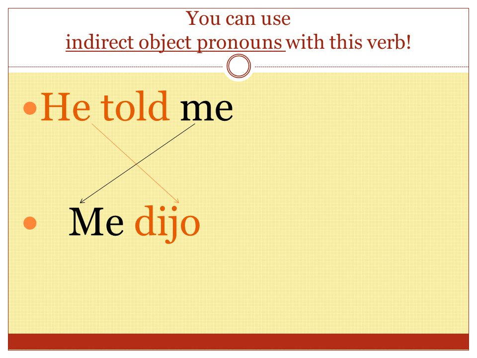 You can use indirect object pronouns with this verb! He told me Me dijo