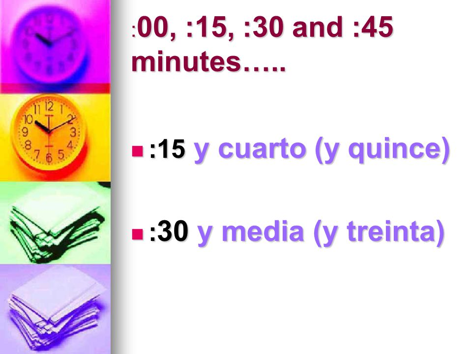 : 00, :15, :30 and :45 minutes…..