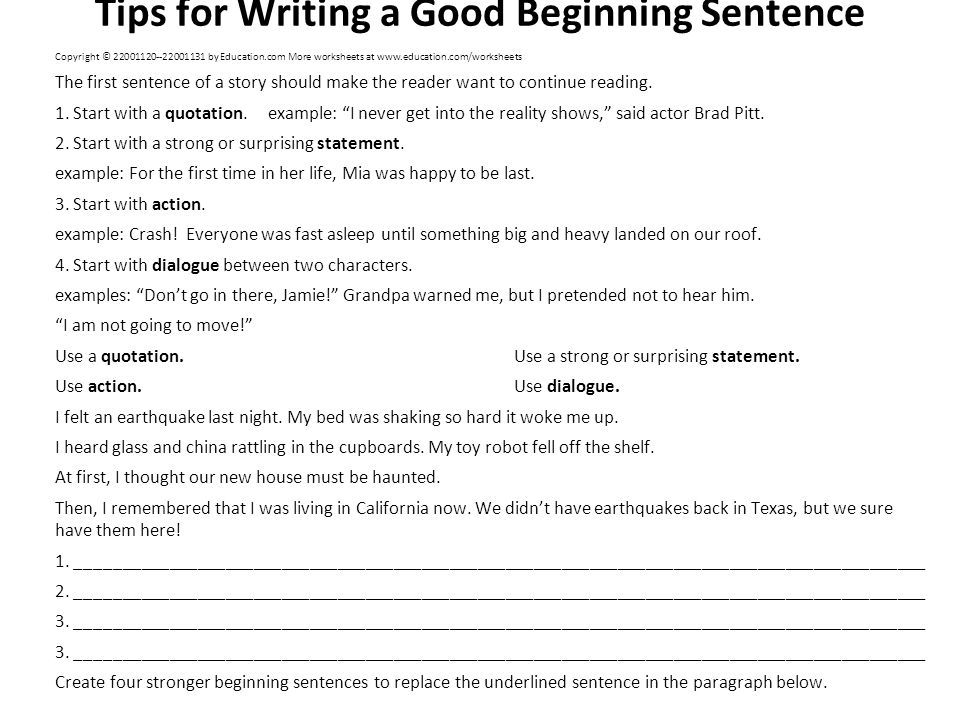 good beginning sentences