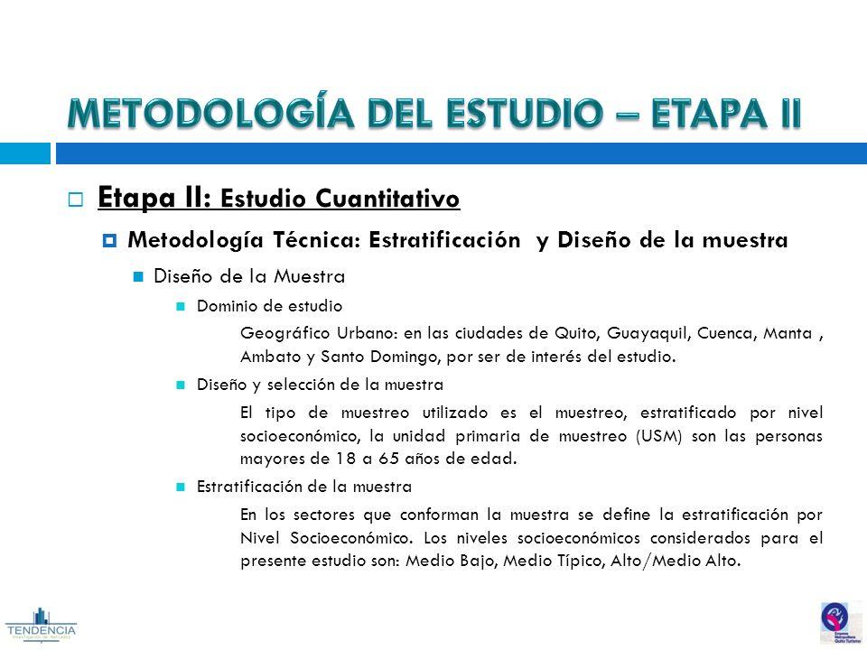 Etapa II  Estudio Cuantitativo  Metodología Técnica  Estratificación y  Diseño de la muestra 53801f649cf