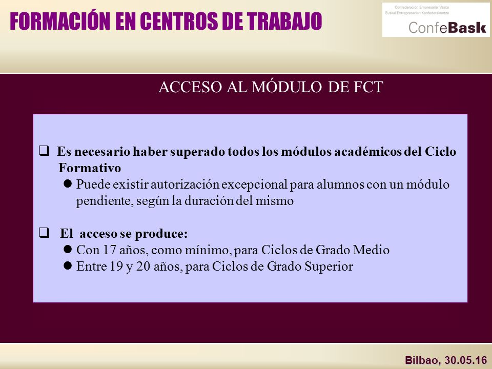 Bilbao La Formación En Centros De Trabajo Ppt Descargar
