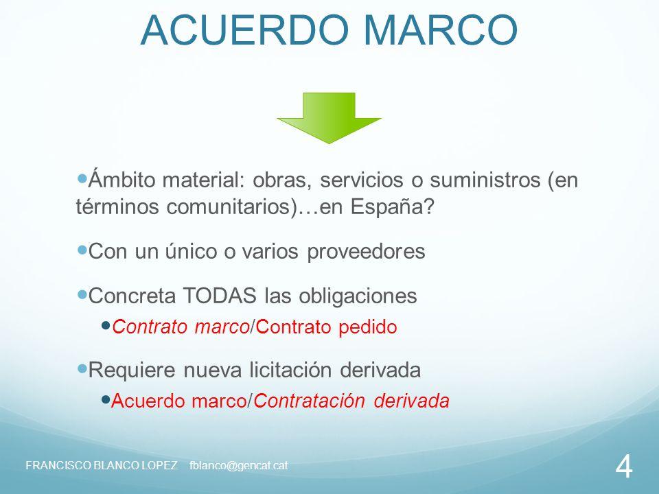 FRANCISCO BLANCO LOPEZ 1. Acuerdo marco. Regulación FRANCISCO BLANCO ...