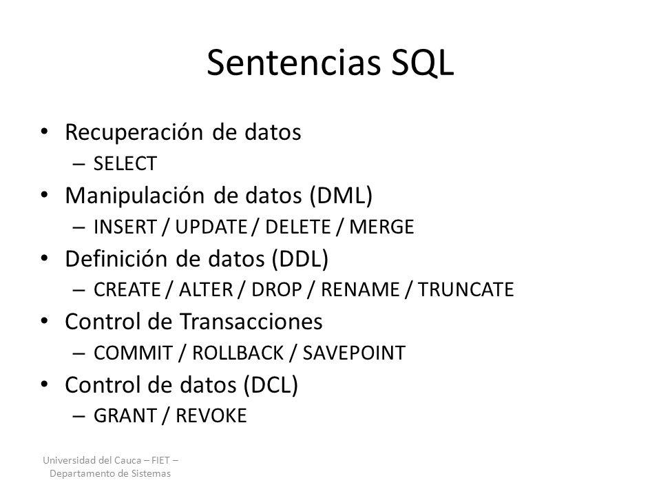 Diapositivas Resumen SQL ORACLE – Semana 1 Especialización en ...