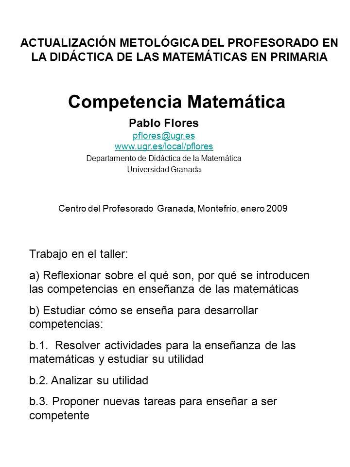 Competencia Matemática Pablo Flores Departamento de Didáctica de la ...