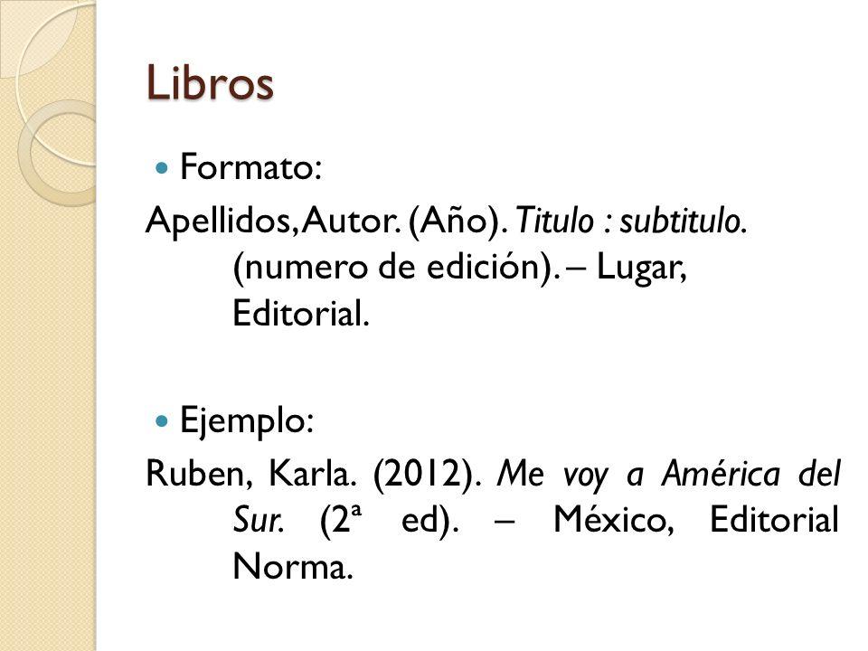 libros formato apellidos autor ao titulo subtitulo