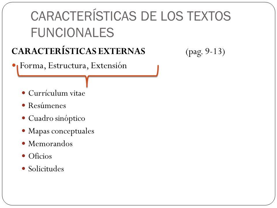 caracteristicas internas y externas del curriculum vitae