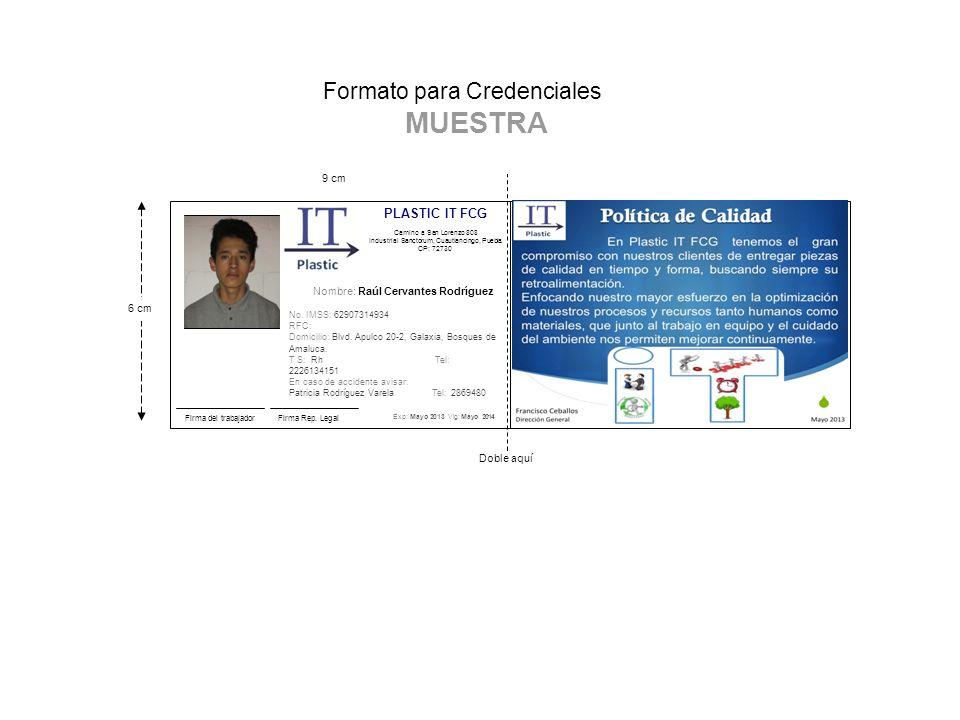 formato para credenciales muestra firma del trabajador exp mayo
