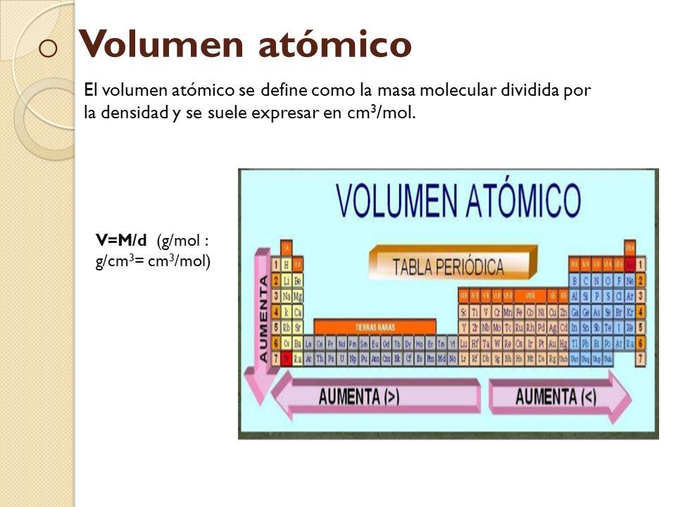 Propiedades peridicas qu son las propiedades peridicas son o o volumen atmico el volumen atmico se define como la masa molecular dividida por la densidad urtaz Image collections