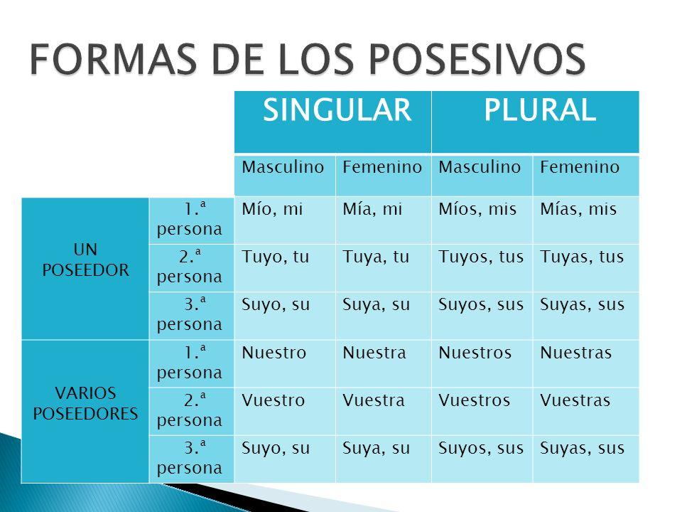 los posesivos formas de los posesivos funciones de los posesivos