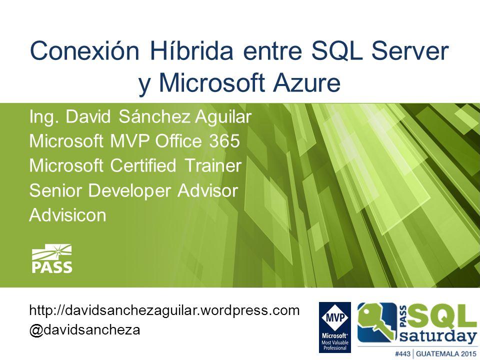 Conexión Híbrida entre SQL Server y Microsoft Azure Ing. David ...