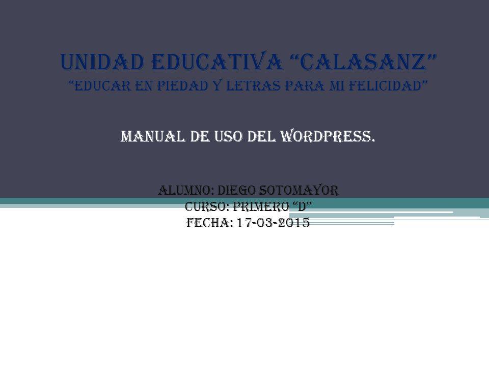 """UNIDAD EDUCATIVA """"CALASANZ"""" """"Educar en Piedad y Letras para mi ..."""