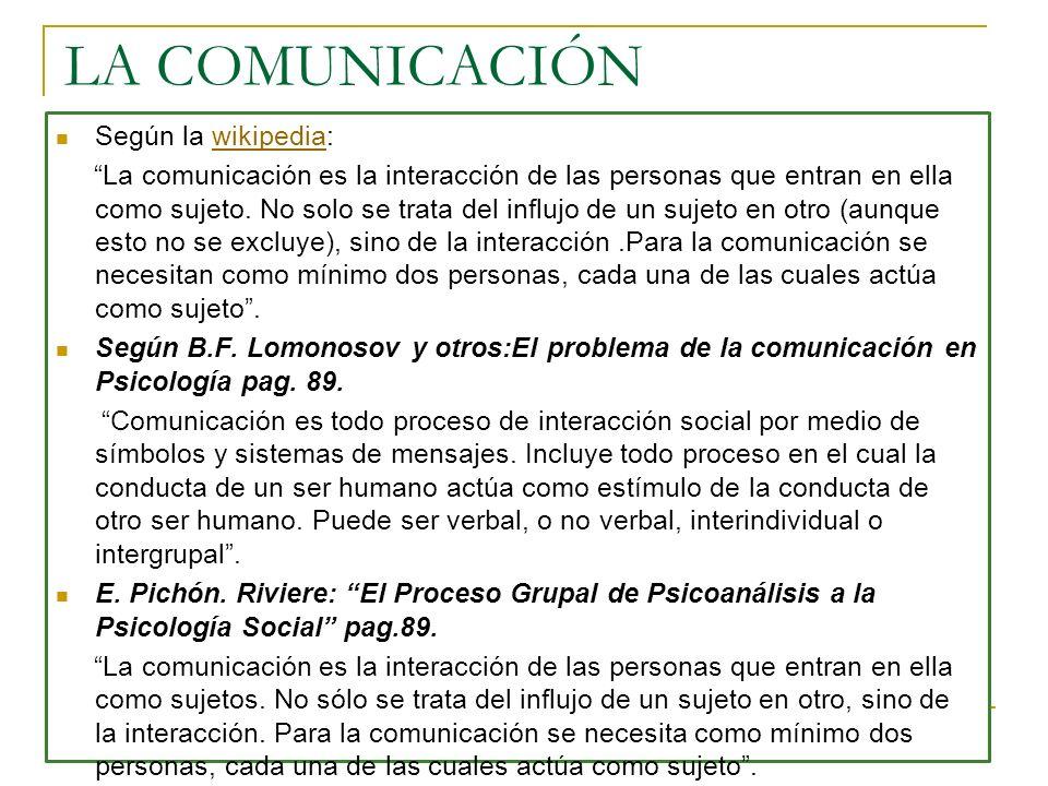 """2e60b76dc899 3 LA COMUNICACIÓN Según la wikipedia:wikipedia """"La comunicación es la  interacción de las personas que ..."""