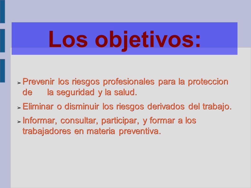 Ley de Prevención de Riesgos Laborales. Los objetivos: ➢ Prevenir ...
