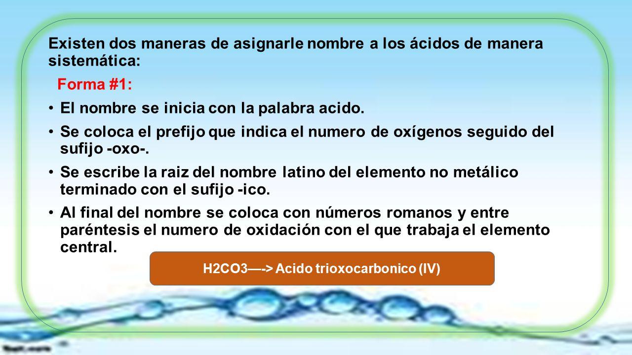 ácido Oxigenado U Oxoácido Un óxido ácido Reacciona Con Agua Para