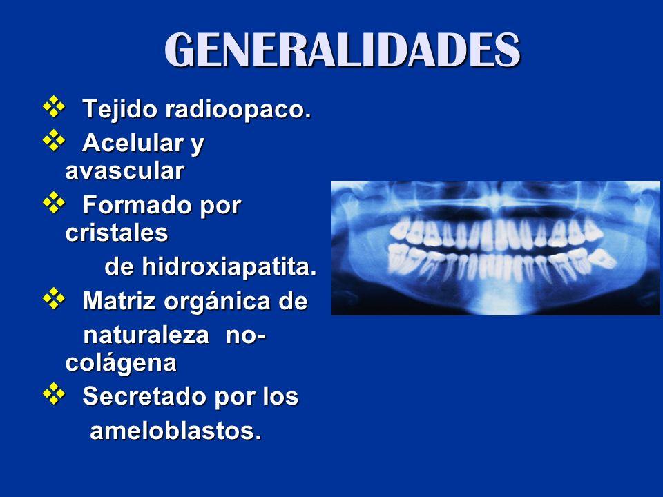 Localización: superficie de la corona anatómica dental  Espesor ...