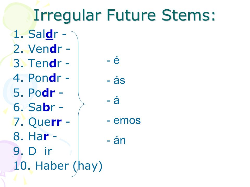 Irregular Future Stems: 1. Saldr - 2. Vendr - 3.