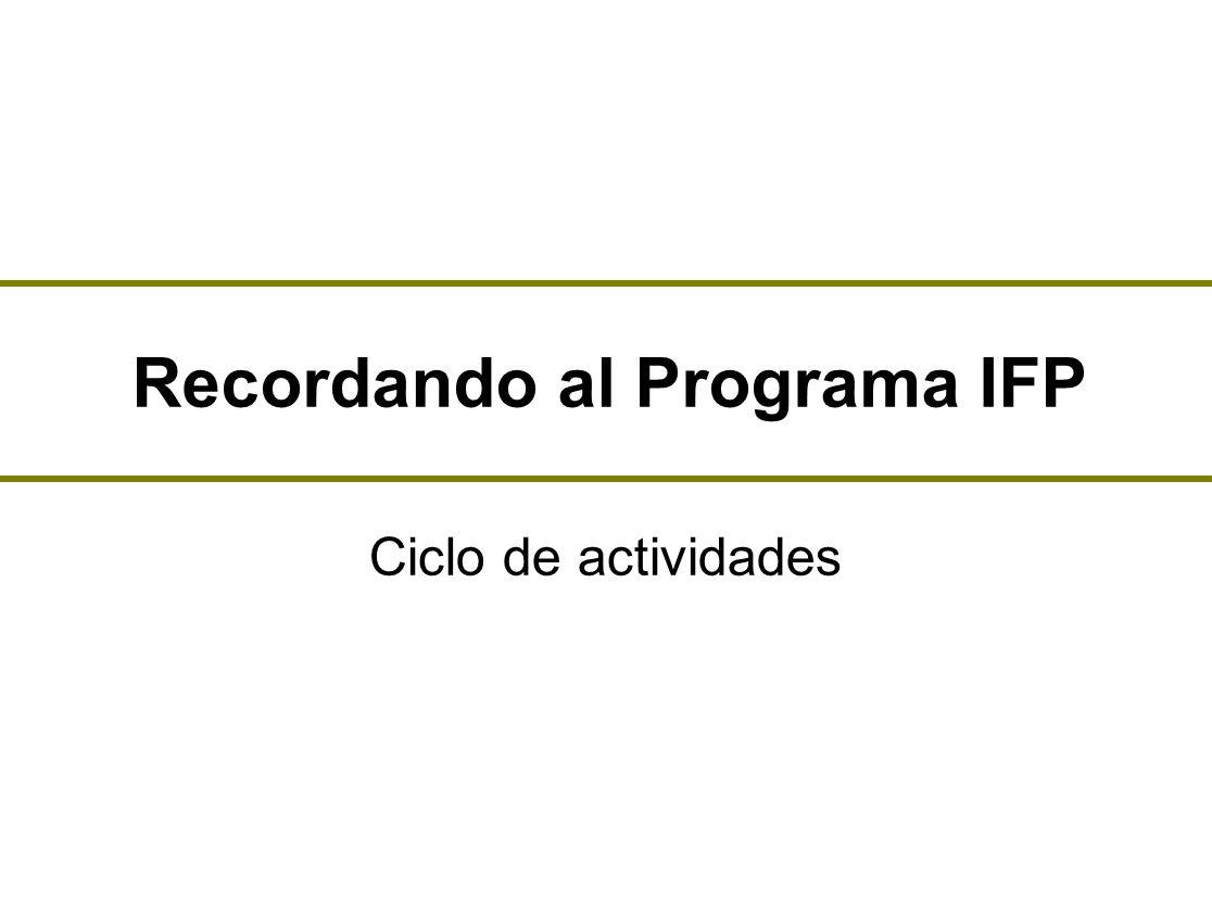 Recordando al Programa IFP Ciclo de actividades. Paso a paso ...